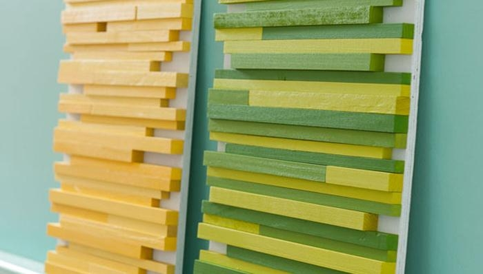 Square Wooden Dowel Wall Art Intended For Yellow And Green Wall Art (Image 19 of 20)