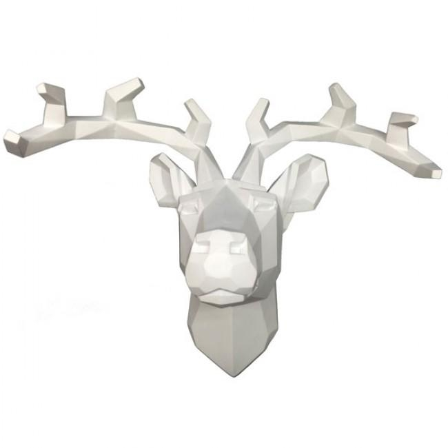 Stag Head Wall Art – White Regarding Stag Head Wall Art (Image 14 of 20)