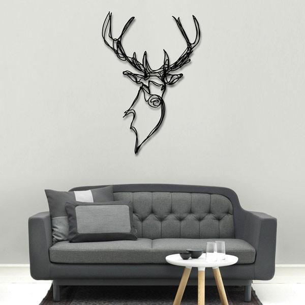 Stag Head Wooden Wall Art – Designer Wood Wall Decorhu2 For Stags Head Wall Art (Image 17 of 20)