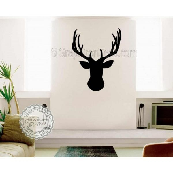 Stags Head Wall Sticker, Vinyl Wal Mount Home Mural Decor Decal Within Stags Head Wall Art (Image 19 of 20)