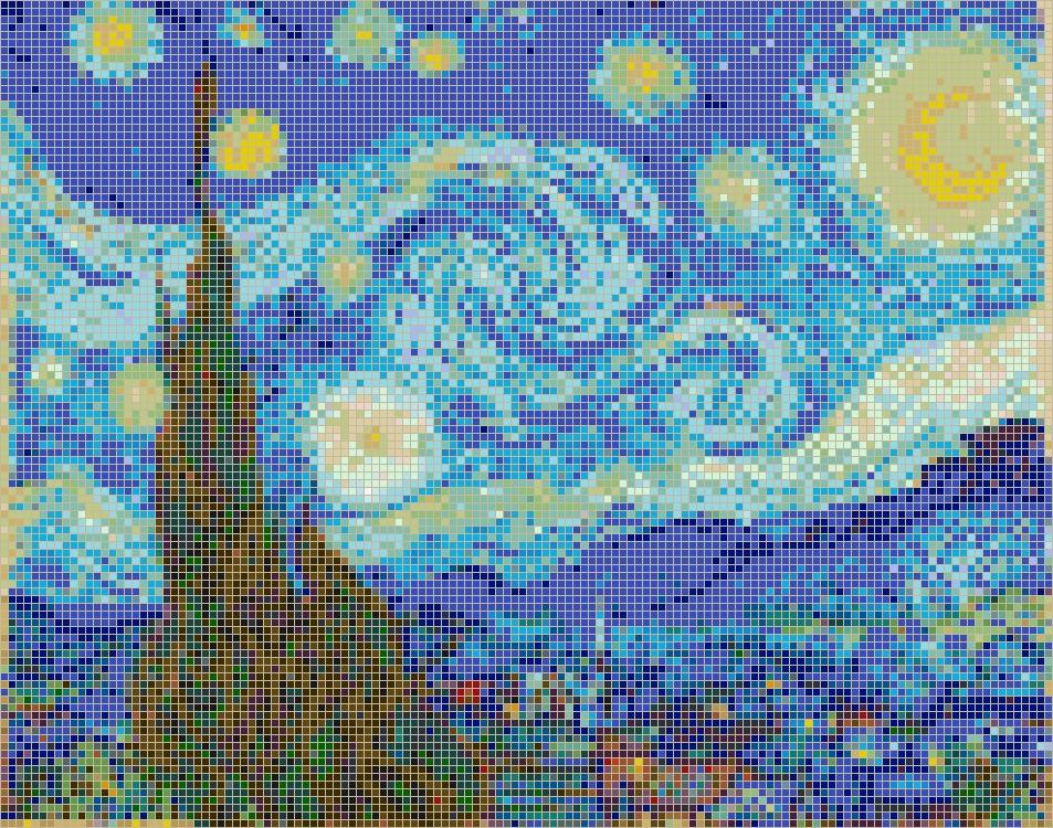 Starry Night (Van Gogh) – Framed Mosaic Wall Art Regarding Pixel Mosaic Wall Art (Image 16 of 20)