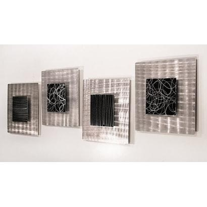 Statements2000 Set Of 4 Black / Silver Metal Wall Art Accent Within Black Silver Wall Art (Image 18 of 20)