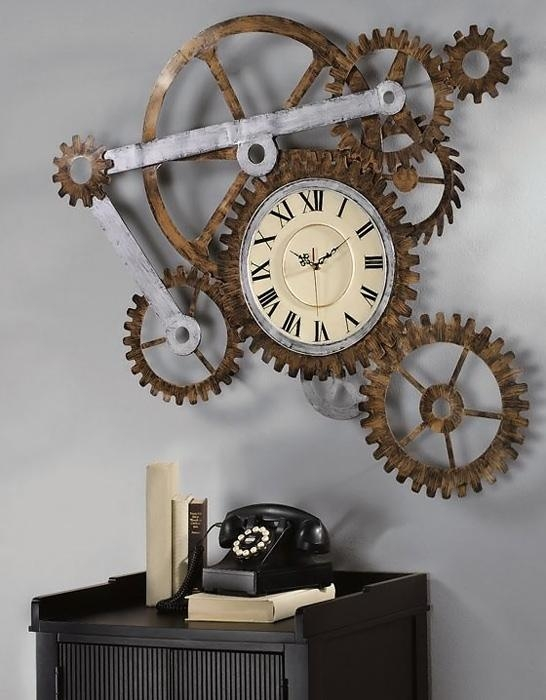 Steampunk Wall Clock Regarding Abstract Wall Art With Clock (Image 9 of 20)