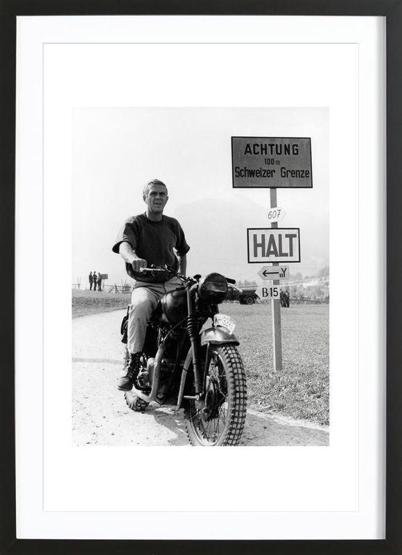 """Steve Mcqueen """"the Great Escape"""" 1963 As Poster In Wooden Frame Pertaining To Steve Mcqueen Wall Art (View 12 of 20)"""
