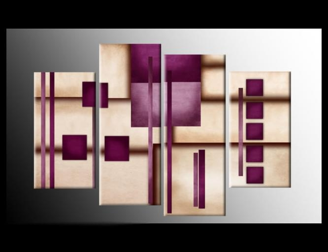 Strength, Plum Cream Brown Purple Abstract Canvas Picture Wall Art Inside Plum Coloured Wall Art (Image 12 of 20)