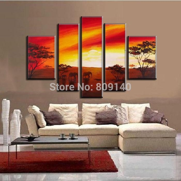 Stretched African Landscape Oil Painting Canvas Sunset Elephants Intended For Canvas Landscape Wall Art (View 15 of 20)