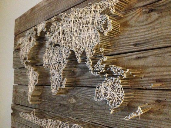 String Art World Map Barn Door Wood Wall Decorrambleandroost With World Map Wood Wall Art (Image 18 of 20)