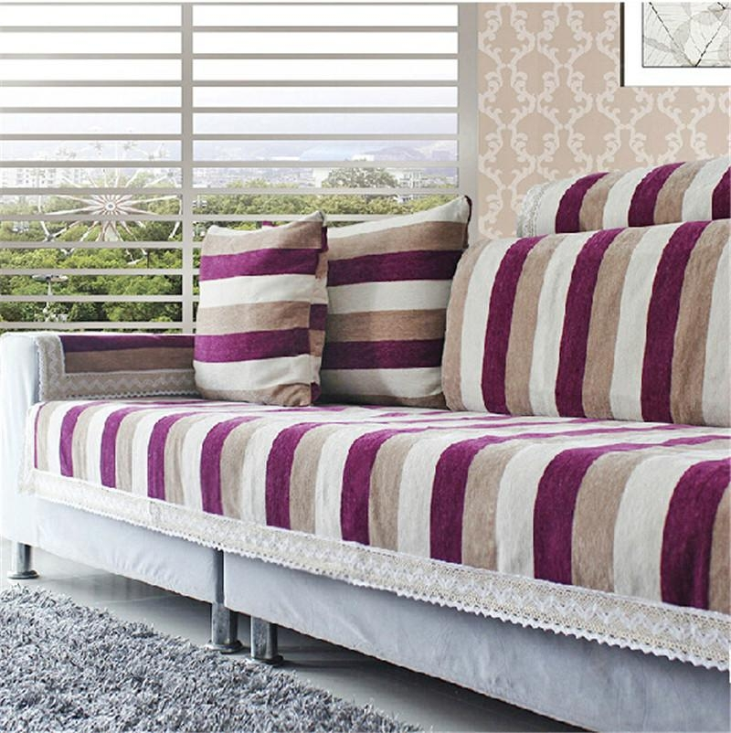 Striped Sofa Cover Sure Fit Category – Thesofa With Regard To Striped Sofa Slipcovers (Image 15 of 20)