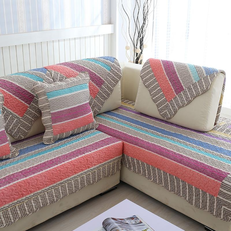 Striped Sofa Slipcover Promotion Shop For Promotional Striped Sofa In Striped Sofa Slipcovers (View 9 of 20)