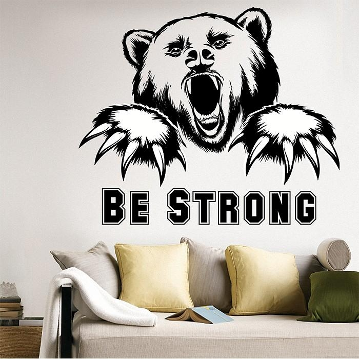 Strong Bear Vinyl Wall Art Decal With Tattoo Wall Art (View 20 of 20)