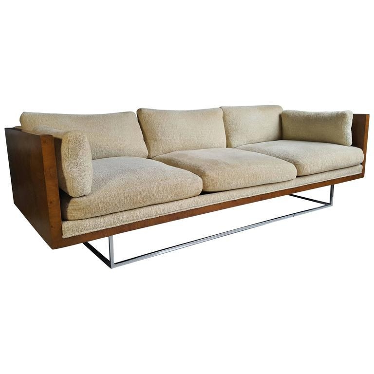 Stunning Milo Baughman Floating Burl And Chrome Tuxedo (Case)Sofa In Floating Sofas (View 7 of 20)