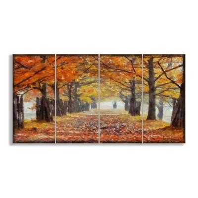 Stupell Industries A Walk Through The Autumn Trees 4 Piece Canvas Regarding 4 Piece Wall Art (Image 17 of 20)