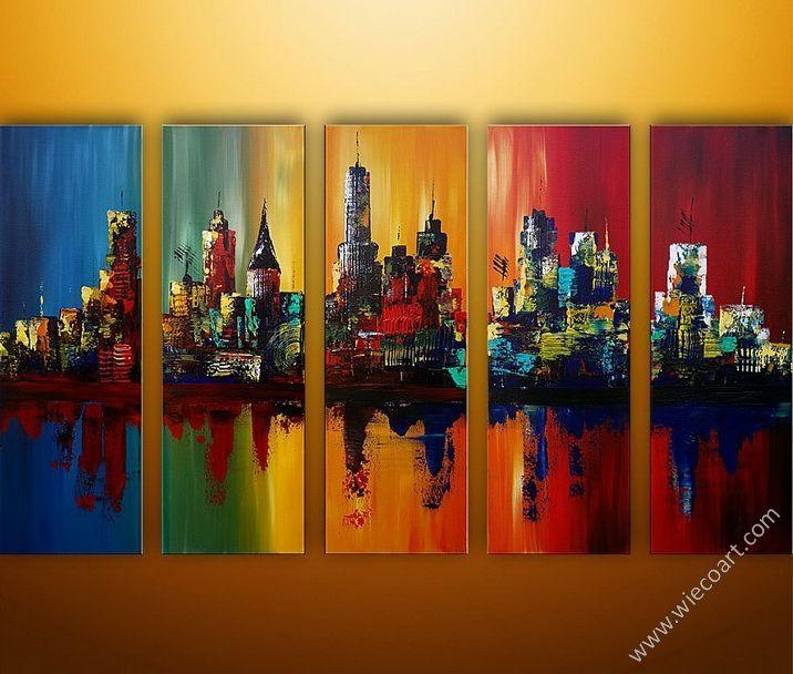 Summer In The City Iii Modern Canvas Art Wall Decor Cityscape Oil With Cityscape Canvas Wall Art (Image 15 of 20)