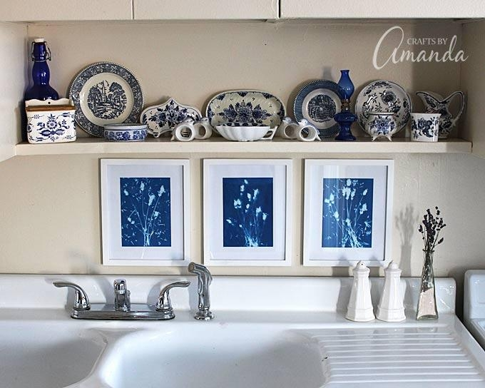 Sun Print Wall Art: Use Sun Print Paper For Home Decor! Intended For Blue And White Wall Art (Image 19 of 20)