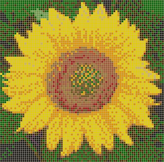 Sunflower – Framed Mosaic Wall Art Inside Pixel Mosaic Wall Art (Image 18 of 20)