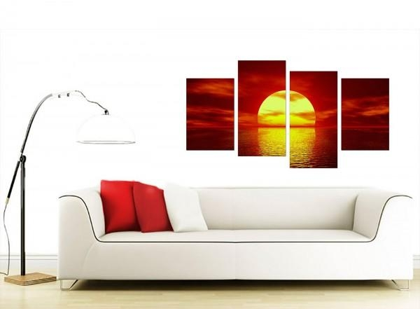 Sunset Canvas Wall Art In Red – For Living Room With Regard To Multiple Piece Canvas Wall Art (Image 15 of 20)
