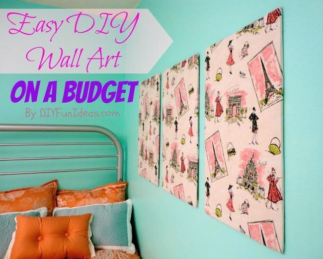 Super Easy Fabric Panel Diy Wall Art On A Budget – Do It Yourself Regarding Stretched Fabric Wall Art (Image 17 of 20)