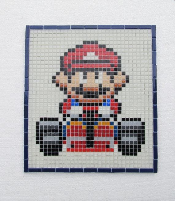 Super Mario Kart Handmade Mosaic Wall Art Glass Mosaic Wall In Pixel Mosaic Wall Art (Image 19 of 20)