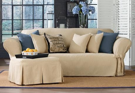 Sure Fit – Category With Regard To Striped Sofa Slipcovers (View 4 of 20)
