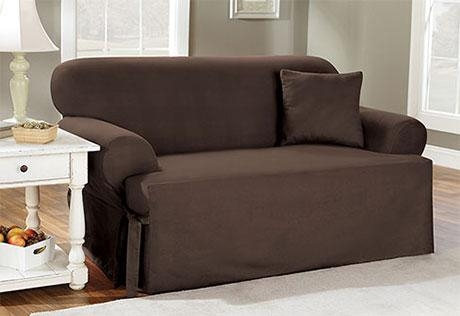 Sure Fit – Cotton Duck One Piece T Cushion Slipcovers Throughout T Cushion Slipcovers For Large Sofas (Image 13 of 20)