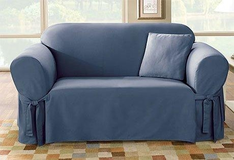 Sure Fit Cotton Duck Sofa Skirted Slipcover & Reviews | Wayfair With Regard To Navy Blue Slipcovers (View 14 of 20)