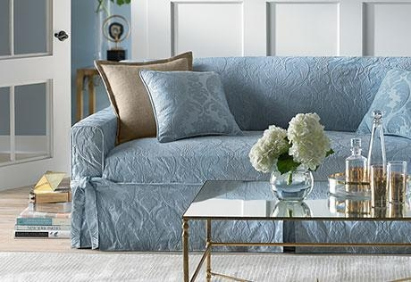 Sure Fit – Matelasse Damask One Piece Slipcovers Pertaining To Blue Slipcovers (View 19 of 20)