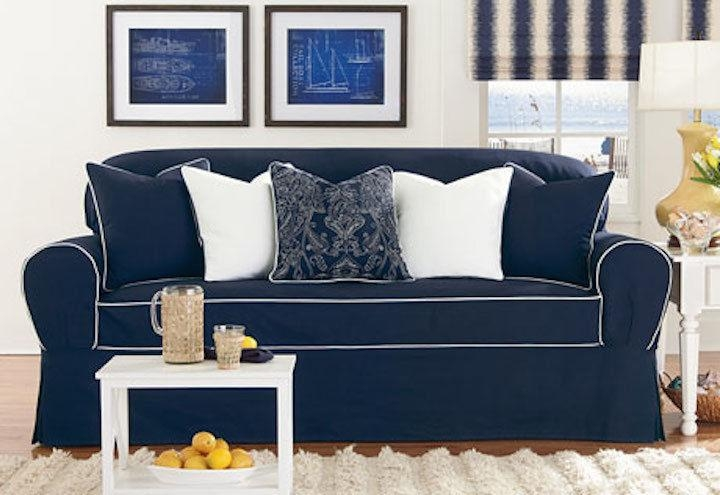 Sure Fit Monaco One Piece Loveseat Slipcover Midnight Blue/white With Navy Blue Slipcovers (View 1 of 20)
