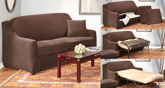Sure Fit Slipcovers: Stylish Sleeper Sofa Covers With Added With Sleeper Sofa Slipcovers (Image 18 of 20)