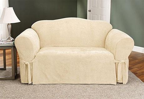 Sure Fit – Soft Suede One Piece Slipcovers With Suede Slipcovers For Sofas (View 8 of 20)