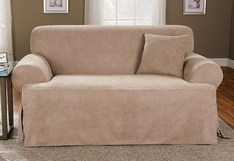 Sure Fit – Soft Suede One Piece T Cushion Pertaining To Suede Slipcovers For Sofas (Image 13 of 20)