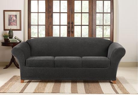 Sure Fit – Stretch Piqué 3 Seat Individual Cushion Sofa Covers For Black Sofa Slipcovers (View 4 of 20)