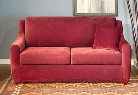 Sure Fit – Stretch Pique Full Sleeper Sofa Throughout Sleeper Sofa Slipcovers (Image 17 of 20)