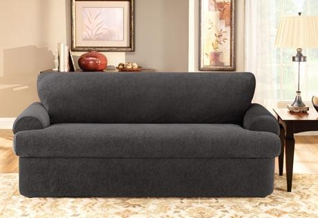 Sure Fit – Stretch Pique Three Piece T Cushion With Regard To T Cushion Slipcovers For Large Sofas (Image 15 of 20)