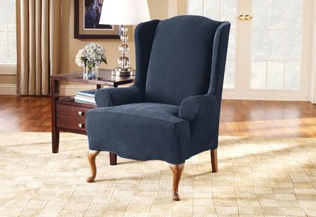 Sure Fit – Stretch Pique Wing Chair In Navy Blue Slipcovers (Image 18 of 20)