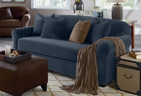 Sure Fit – Stretch Plush Separate Seat Slipcovers Intended For Blue Slipcovers (View 5 of 20)