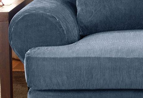 Sure Fit – Stretch Stripe Separate Seat T Cushion Throughout T Cushion Slipcovers For Large Sofas (Image 16 of 20)