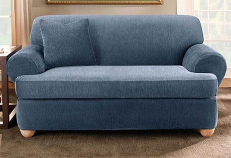 Sure Fit – Stretch Stripe Separate Seat T Cushion With Regard To T Cushion Slipcovers For Large Sofas (Image 17 of 20)