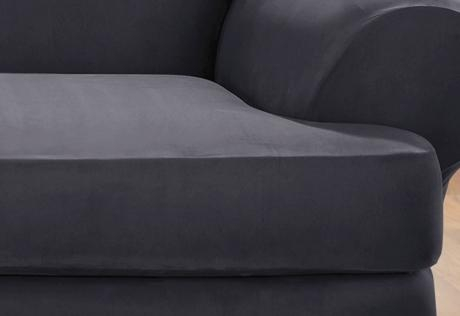 Sure Fit – Stretch Suede Separate Seat T Cushion Pertaining To Suede Slipcovers For Sofas (Image 14 of 20)