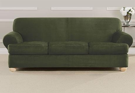 Sure Fit – Ultimate Heavyweight Stretch Suede Individual 3 Piece T Within Suede Slipcovers For Sofas (View 5 of 20)
