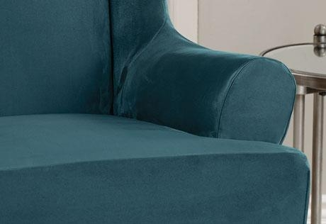 Sure Fit – Ultimate Heavyweight Stretch Suede Wing Chair Slipcovers For Blue Slipcovers (View 4 of 20)