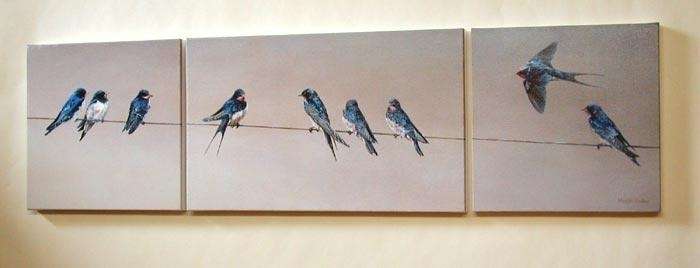 Swallows Painting – Triptych On Three Block Canvases Regarding Triptych Art For Sale (View 17 of 20)