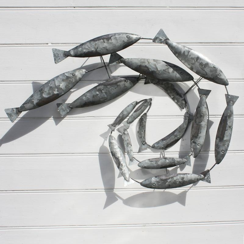 Swirling Mackerel Fish Shoal | Tin Fish | Coastal Decor – Buy The Sea Throughout Fish Shoal Metal Wall Art (Image 15 of 20)