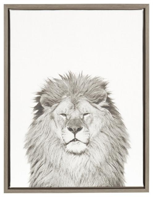 Sylvie Lion 18X24 Gray, Framed Canvas Wall Artsimon Te Tai Inside Lion Wall Art (Image 20 of 20)