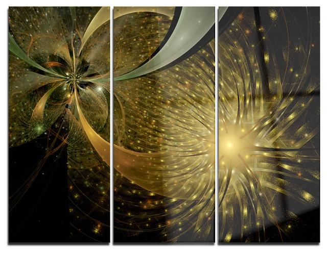 "Symmetrical Firework Pattern"" Digital Metal Wall Art, 3 Panels, 36 With Asian Metal Wall Art (Image 15 of 20)"
