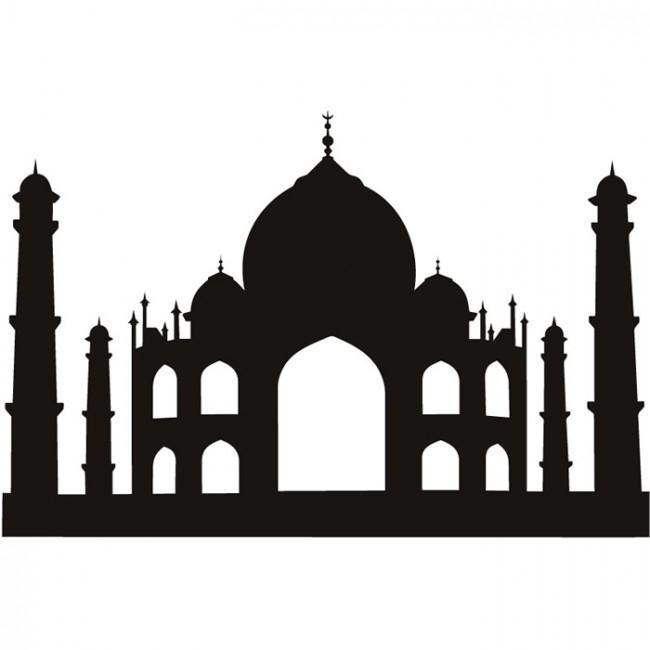 Taj Mahal Wall Stickers Landmark Wall Art Within Taj Mahal Wall Art (Image 16 of 20)