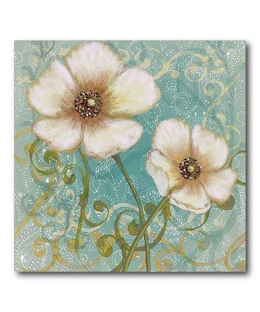 Take A Look At This Teal & Tan Flower I Canvas Wall Art Pertaining To Teal Flower Canvas Wall Art (Image 16 of 20)