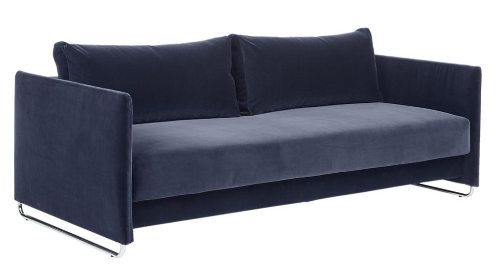 Tandom Navy Blue Velvet Sofa | Cb2 Within Sleeper Sofas (Image 18 of 20)