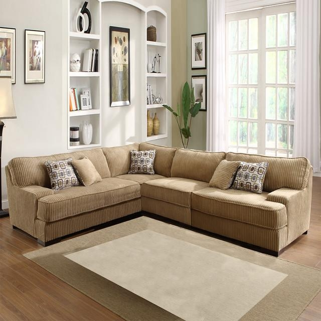 Tara Beige Chenille Sectional – Contemporary – Sectional Sofas With Regard To Chenille Sectional Sofas (Image 20 of 20)