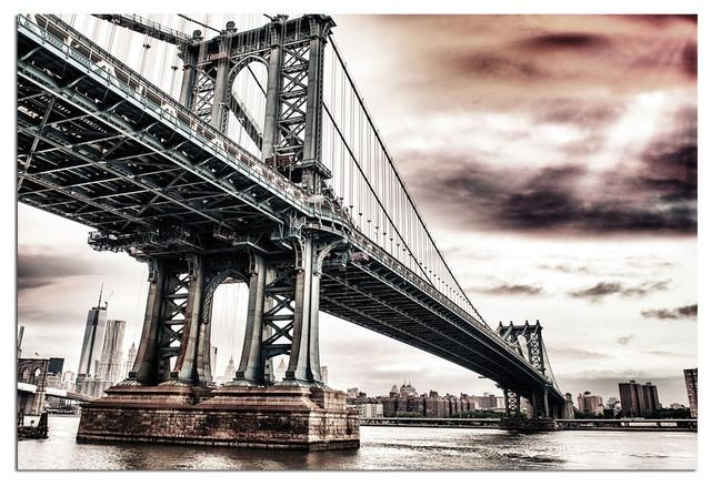 Tempered Glass Wall Art, New York Brooklyn Bridge 1 – Traditional Pertaining To Brooklyn Bridge Wall Decals (Image 17 of 20)