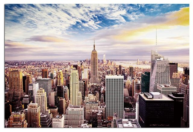 Tempered Glass Wall Art, New York Skyline World Trade Center 1 Within New York City Wall Art (Image 14 of 20)